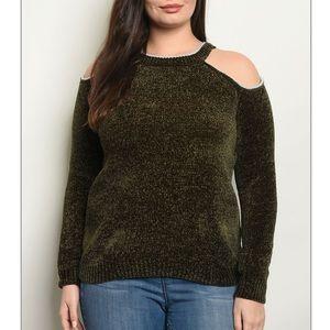 Dark olive PLUS sz cold shoulder knit sweater